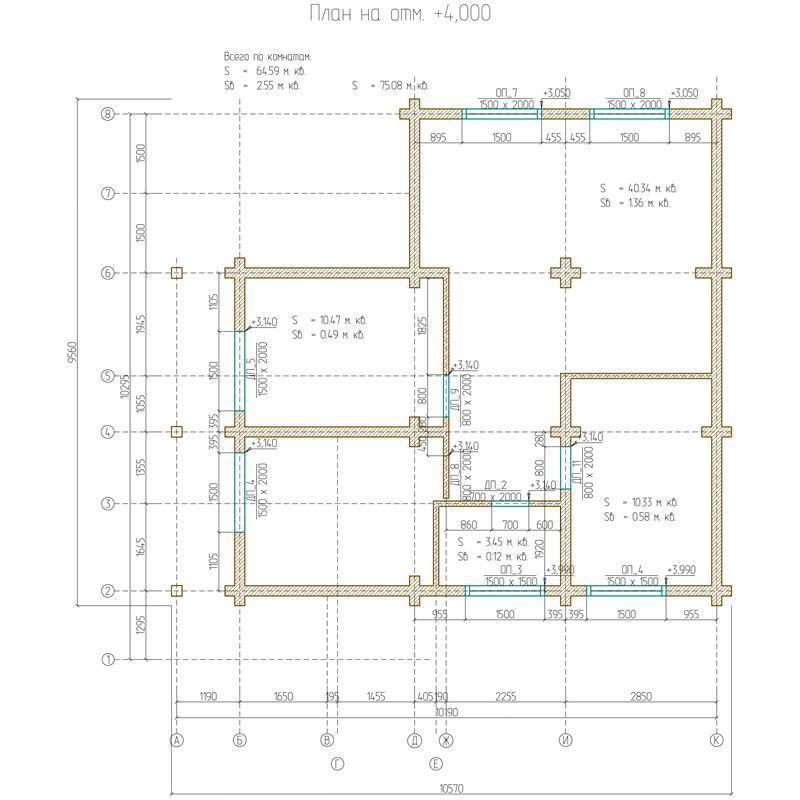 План этажа на отметке 4,000